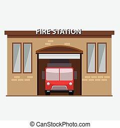 建物, 火, 自動車, 駅, トラック, garrage