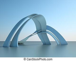 建物, 現代, 空, イラスト, アーチ, 建築, 背景, 3d