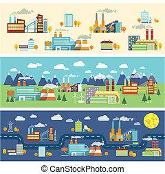 建物, 産業, 水平なバナー