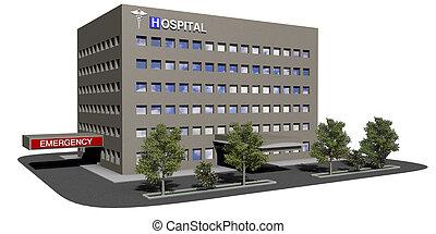 建物, 病院, 白い背景