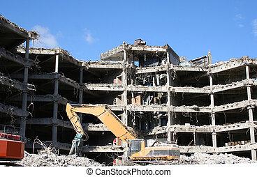 建物, 破壊, 下に