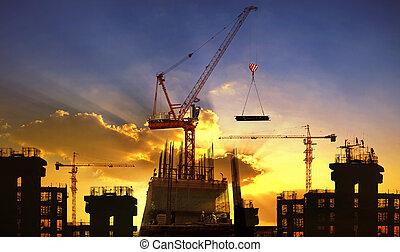 建物, 美しい, 使用, 大きい, 産業, 空, に対して, 工学, 建設, dusky, クレーン