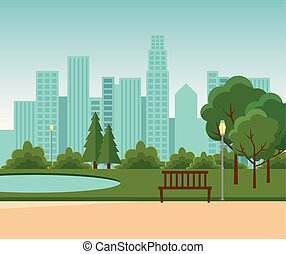 建物, 都市の景観, 公園, 湖, 木