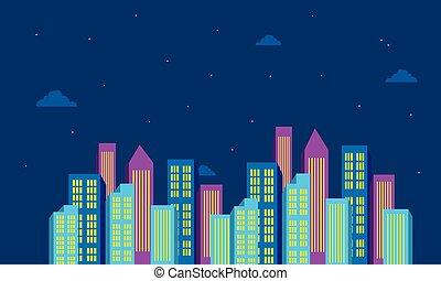 建物, 都市の色, ベクトル, 夜, 風景