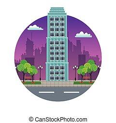 建物, 都市, 切手, ダウンタウンに, 夜, 光景