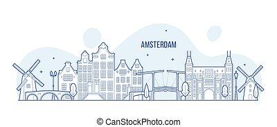 建物, 都市, netherlands, スカイライン, ベクトル, アムステルダム