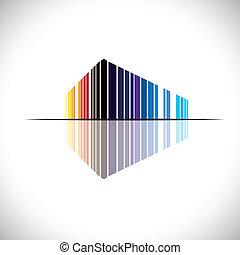建物, 青, オフィス, ∥など∥, これ, コマーシャル, graphic., 現代, -, イラスト, のように, オレンジ, 色, ベクトル, 建築, 黒, 赤, カラフルである, 抽象的, 構造, アイコン