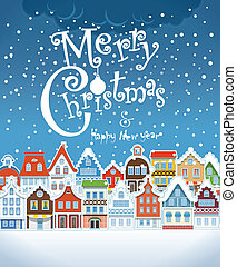 建物, card., 型, 挨拶, 積雪量, クリスマス
