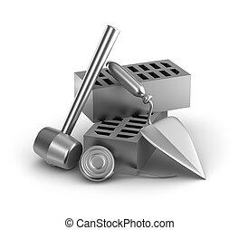 建物, measur, テープ, ハンマー, tools: