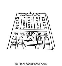 建物, outline., 黒, 手, ベクトル, イラスト, 隔離された, バックグラウンド。, スケッチ, いたずら書き, 現代, 高く, windows., 引かれる, 白