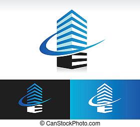 建物, swoosh, 現代, アイコン