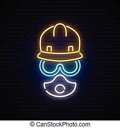 建築者, ネオン, マスク, goggles., 印。, ヘルメット, 人