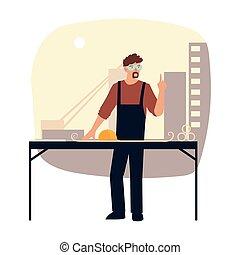 建築者, 帽子, テーブル, 青写真, 懸命に