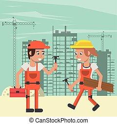 建築者, 恋人, 仕事, 建設, 下に, 現場
