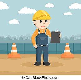 建設, クリップボード, 労働者, 読書