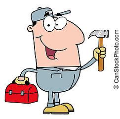 建設, ハンマー, 労働者