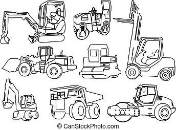 建設, ベクトル, -, 機械