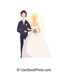 式, 新婚者, 恋人, イラスト, 優雅である, ベクトル, 背景, 結婚式, 白