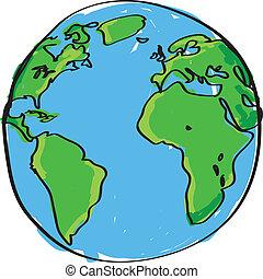 引かれる, 手, 地球