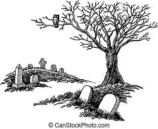 引かれる, 手, 墓地, 気味悪い