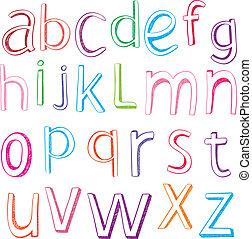 引かれる, 手, 手紙, アルファベット