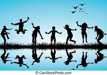 引かれる, 手, 遊び, 子供, 自然