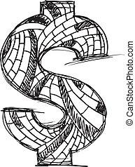 引かれる, 抽象的, ドルシンボル, 手