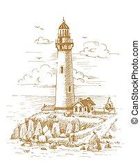 引かれる, 灯台, おや, 海岸
