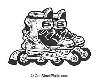 引かれる, 黒, 手の跡, 板, tシャツ, かきなさい, illustration., imitation., image., design., ベクトル, 服装, スケッチ, スケート, ローラー, 白, 彫版