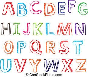 引かれる, letters., 手, アルファベット