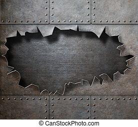 引き裂かれた, 金属, 穴, 背景, 蒸気, 不良, よろいかぶと, 傷つけられる