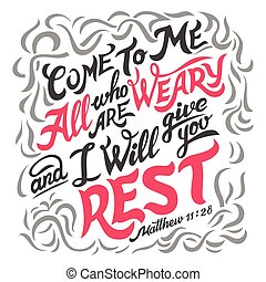引用, 疲労した, すべて, 聖書, 来なさい, 私