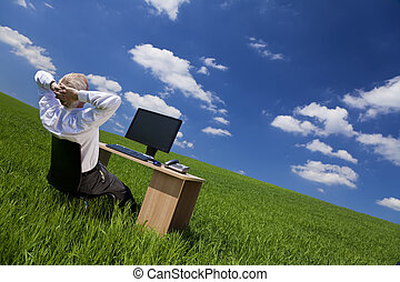 弛緩, オフィス, フィールド, 緑の机, 人