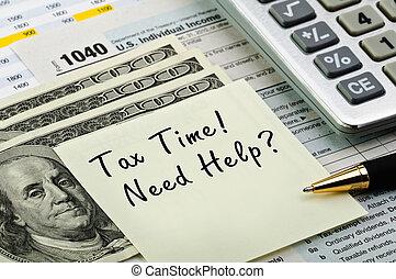 形態, 税, 計算機, ペン, お金。