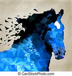 形, 抽象的, 幾何学的, 馬, シンボル