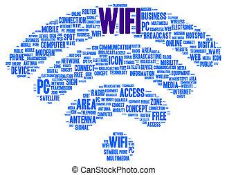 形, wifi, 単語, 雲
