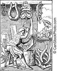 彫版, 世紀, 後で, 鞍, engraving., 型, 16番目