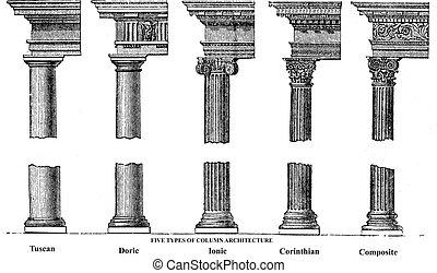 彫版, 古い, コラム, 5, 建築, タイプ