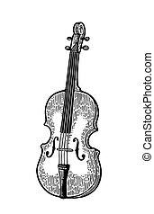彫版, 型, violin., イラスト, 黒
