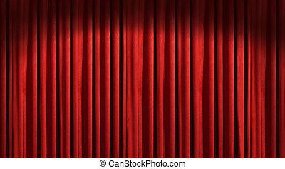 影, 暗い, 劇場, 赤いカーテン