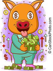 彼の, お金, 抱擁, 豚, たくさん, 手, 顔, 幸せ