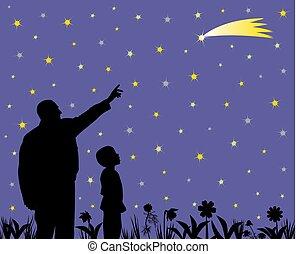 彼の, 父, 子供, 驚かせられた, 撃つ 星, 提示, うわーっ, 顔