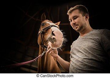 彼の, 男性, 馬