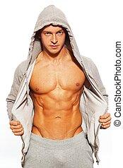 彼の, 腹部, 提示, 灰色, 筋肉, hoodie, 人, ハンサム
