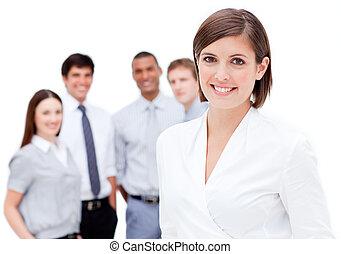 彼女, チーム, 背景, マネージャー, に対して, 白, 陽気, 前部