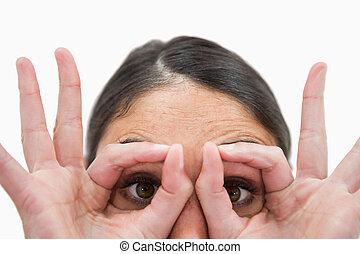 彼女, 終わり, のまわり, 指, の上, 目, 女