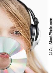 彼女, 終わり, 前部, cd, の上, ブロンド, 顔, 女