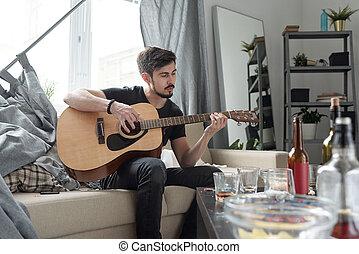 後で, ギターの遊ぶこと, 平ら, パーティー