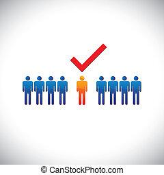従業員, 写実的, 権利, selecting(hiring), illustration-, employable, candidate., イラスト, 印, 人, 仕事, 労働者, suitable, ショー, check(tick)