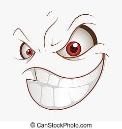 微笑, ひどく, 表現, 漫画, 悪